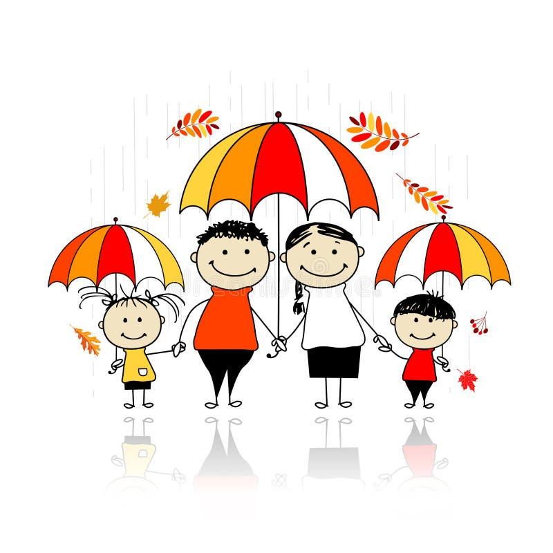 Höstsäsong. Familj med paraplyer royaltyfri illustrationer