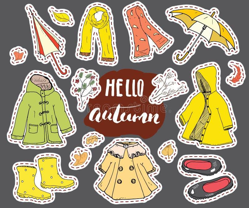 Höstsäsongkläderuppsättning Hand dragen klotter och bokstävervektorillustration royaltyfri illustrationer