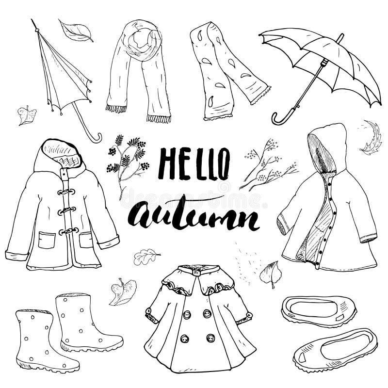 Höstsäsongkläderuppsättning Hand dragen klotter och bokstävervektorillustration stock illustrationer