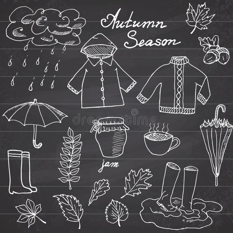 Höstsäsonguppsättningen klottrar beståndsdelar Hand dragen uppsättning med umprellacuo av den varma te, regn, gummistöveler, kläd royaltyfri illustrationer