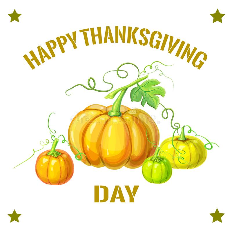 Höstsammansättning med olika pumpor och vinrankor, sidor Tacksägelse, halloween eller mall för havrefestivalkort eller royaltyfri illustrationer