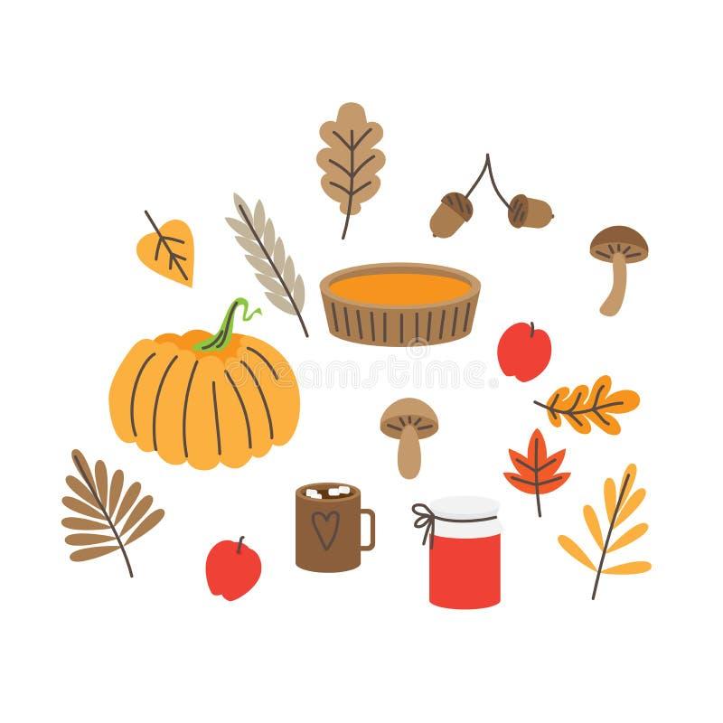 Höstsidor, champinjoner och ekollonar, nedgångskognatur Pumpapaj och driftstopp isolerade diagram för bakgrundsymnighetshorneleme stock illustrationer