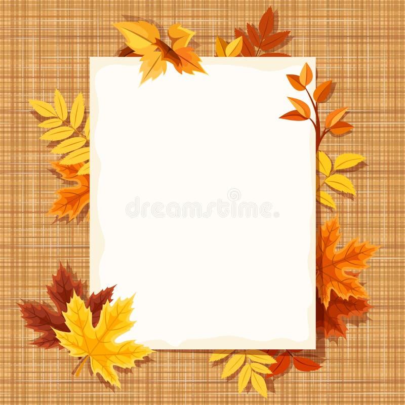 Höstsidor och ett pappers- ark på ett plundra tyg Vektor EPS-10 stock illustrationer