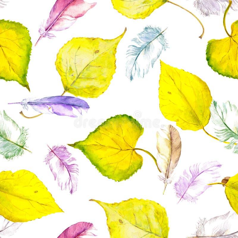 Höstsidor och fjädrar för vattenfärg gula Upprepat mönstra stock illustrationer