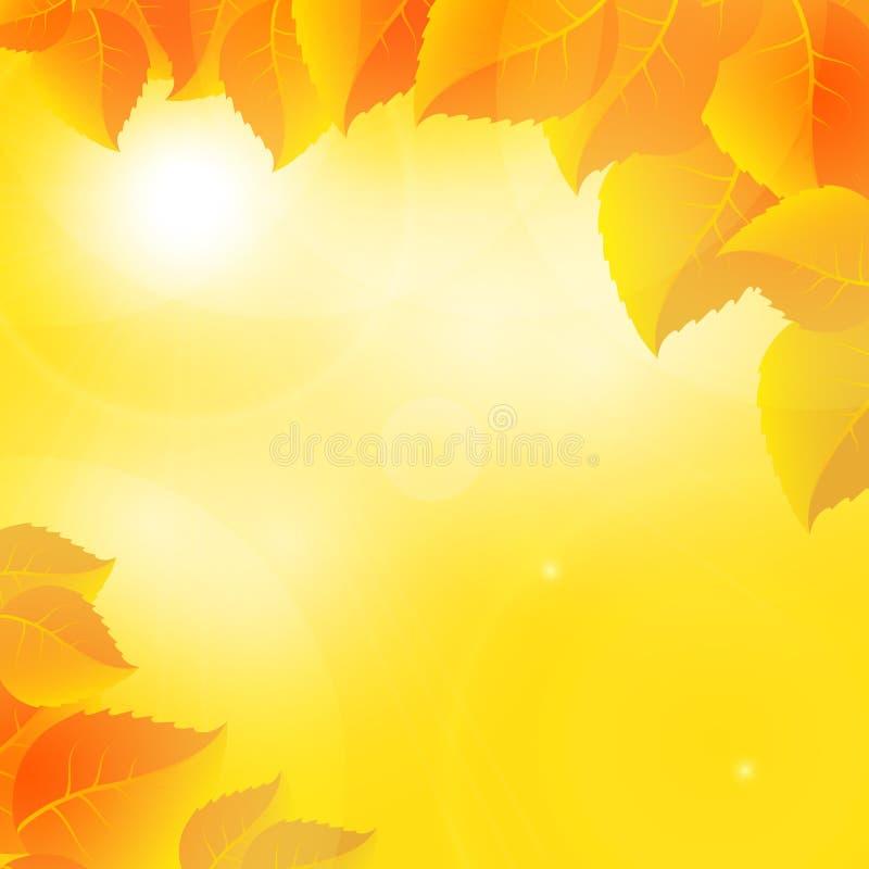 Höstsidor på en solig himmelbakgrund stock illustrationer