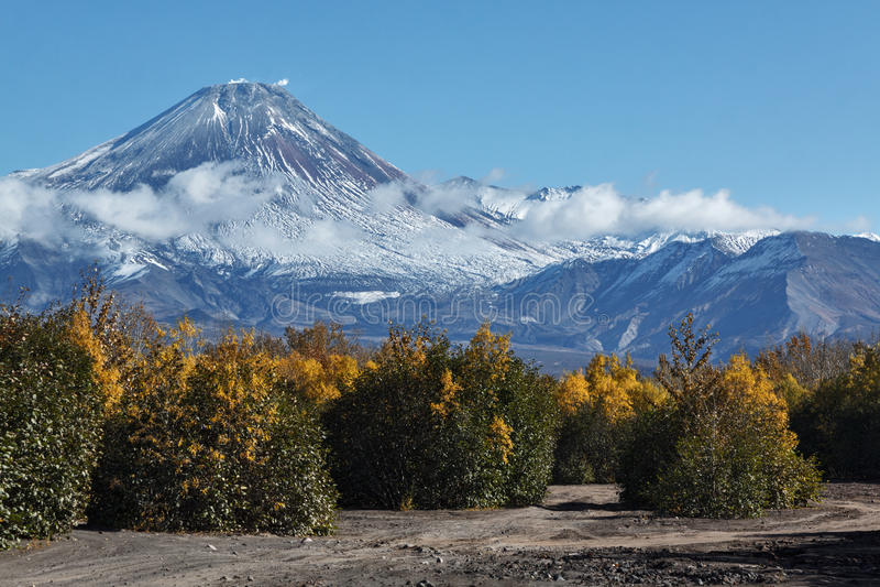 Höstsikt av den aktiva Avachinskiy vulkan på Kamchatka, Ryssland royaltyfri bild