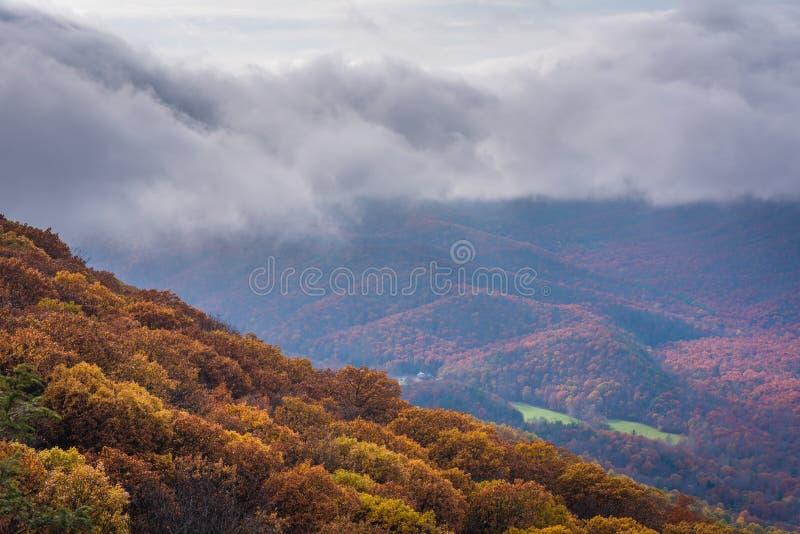 Höstsikten från Ravens Roost förbiser, på den blåa Ridge Parkway i Virginia arkivfoto
