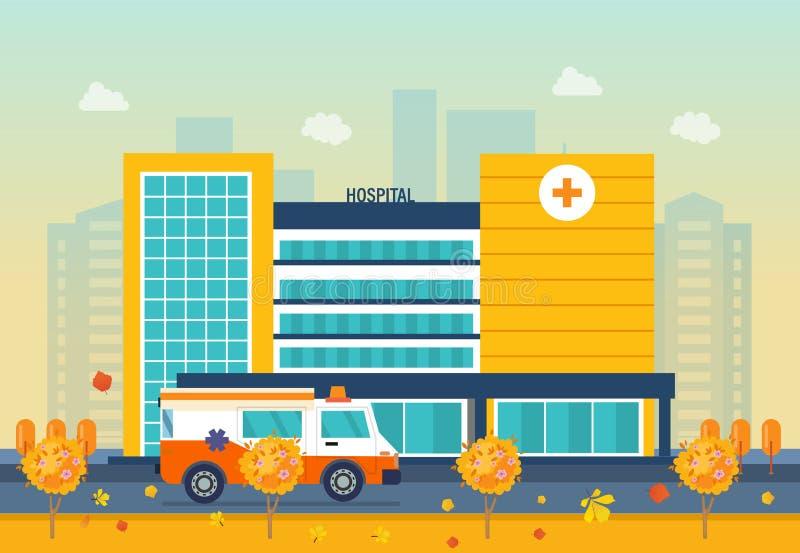 Höstsjukhusbyggnad, vårdsystem, medicinsk lätthet med alla avdelningar royaltyfri illustrationer