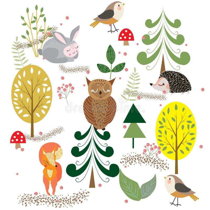 Höstskog, träd och buskar, champinjoner och bär med gulligt royaltyfri illustrationer