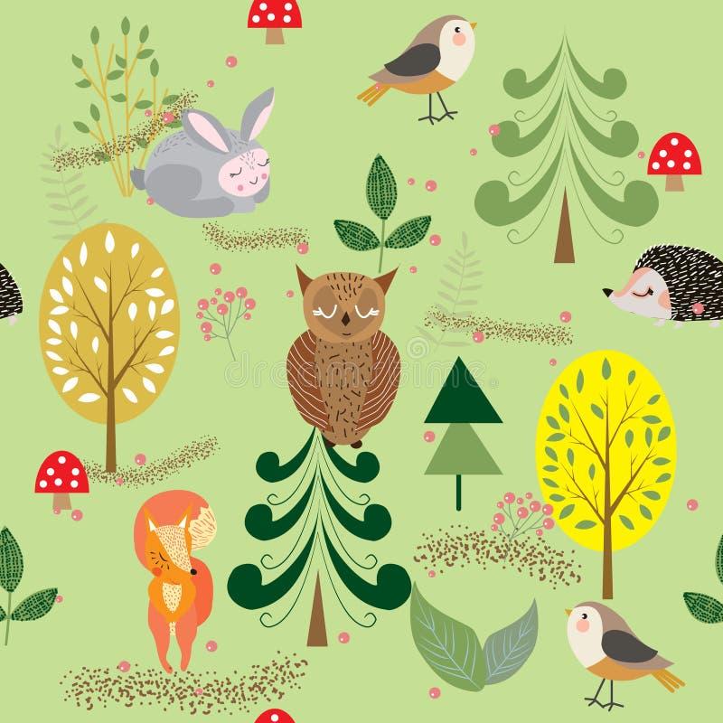 Höstskog, träd och buskar, champinjoner och bär med gulligt vektor illustrationer