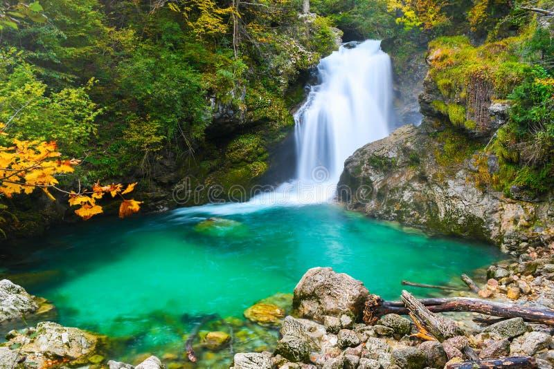 Höstskogfärger med den lilla turkosvattenfallet och sjön i naturligt parkerar royaltyfri fotografi