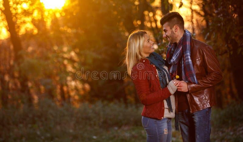 Höstsolnedgång i romantiska par för park- royaltyfri bild
