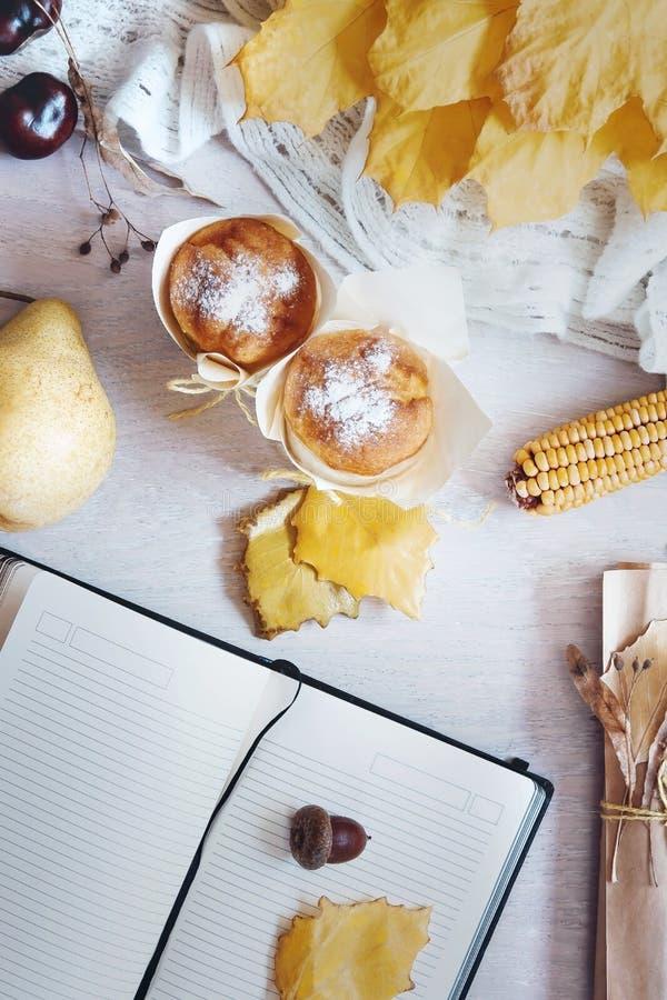 Höststilleben i gula färger Höst- eller vinterbegrepp Lekmanna- lägenhet, bästa sikt arkivfoto