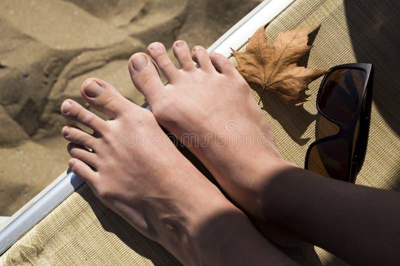 Höststrand: det första höstbladet, flicka lägger benen på ryggen, solglasögon arkivbilder