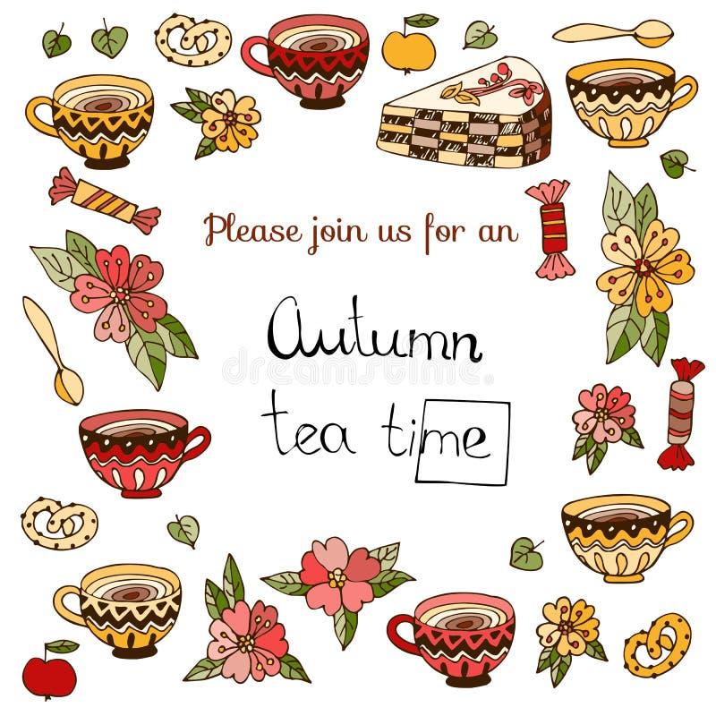 Höstteatime Gulligt inbjudankort för tebjudning med koppar, kakor, sötsaker och blommor stock illustrationer