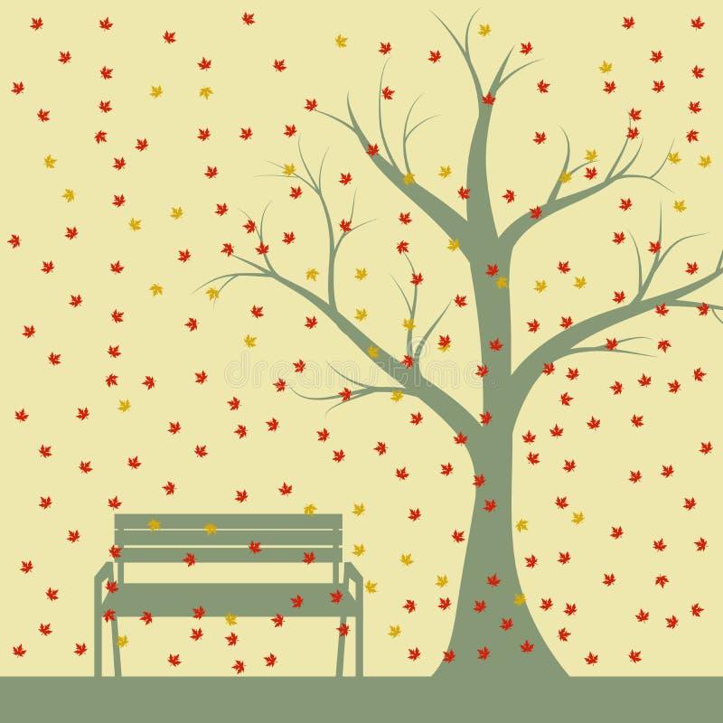 Höstträd och bänkar, fallande lönnlöv, vektorillustration royaltyfri illustrationer