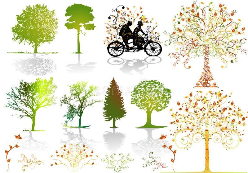 hösttreesvektor stock illustrationer