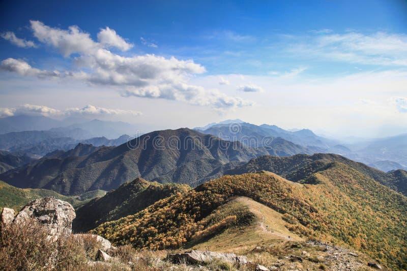 Höstvädret i berget med grumlig blå himmel och gula träd på stenbergen royaltyfri bild