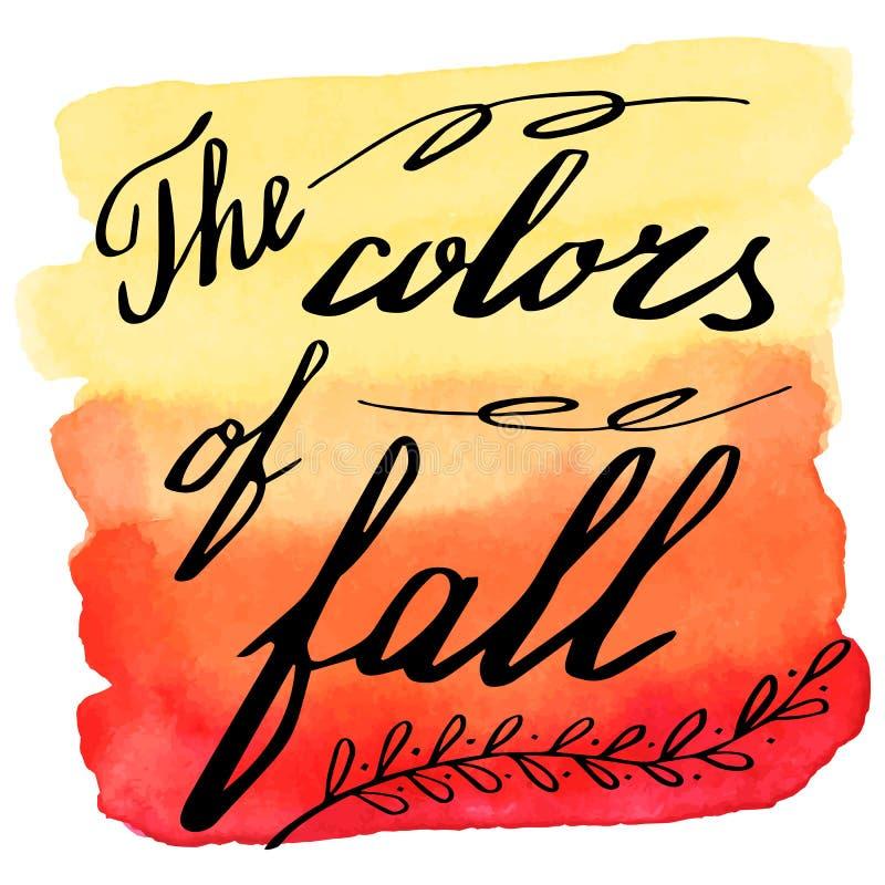 Höstvattenfärgbaner med handbokstäver royaltyfri illustrationer