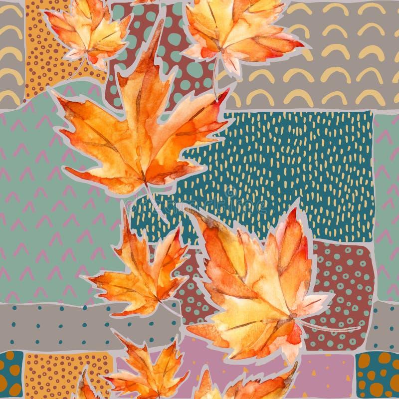 Höstvattenfärgkrans på geometrisk bakgrund med klotter stock illustrationer