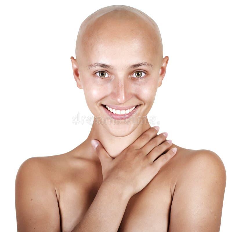 hövdad skallig härlig flicka royaltyfria bilder
