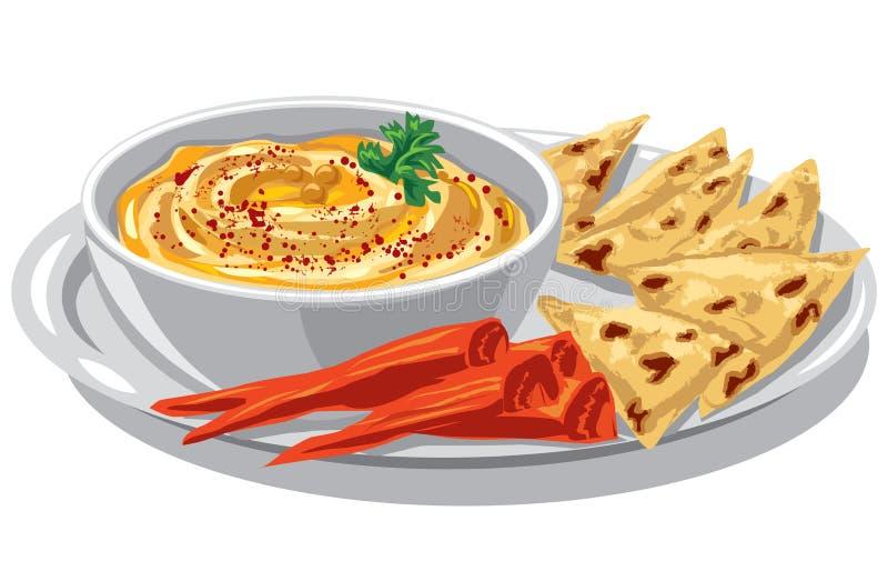 Húmus com o pão árabe na placa ilustração stock