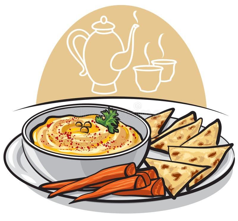 Húmus oriental do prato ilustração do vetor