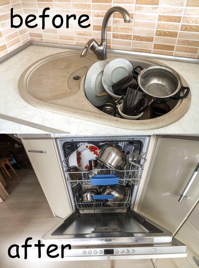 Húndase con artículos de cocina, utensilios y platos sucios Abra el lavaplatos con los platos limpios La mejora, fácil, conforta  imagen de archivo