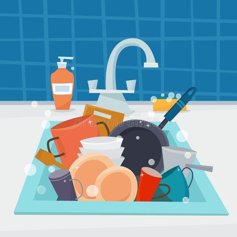 Húndase con artículos de cocina y los platos limpios, utencil y esponja stock de ilustración