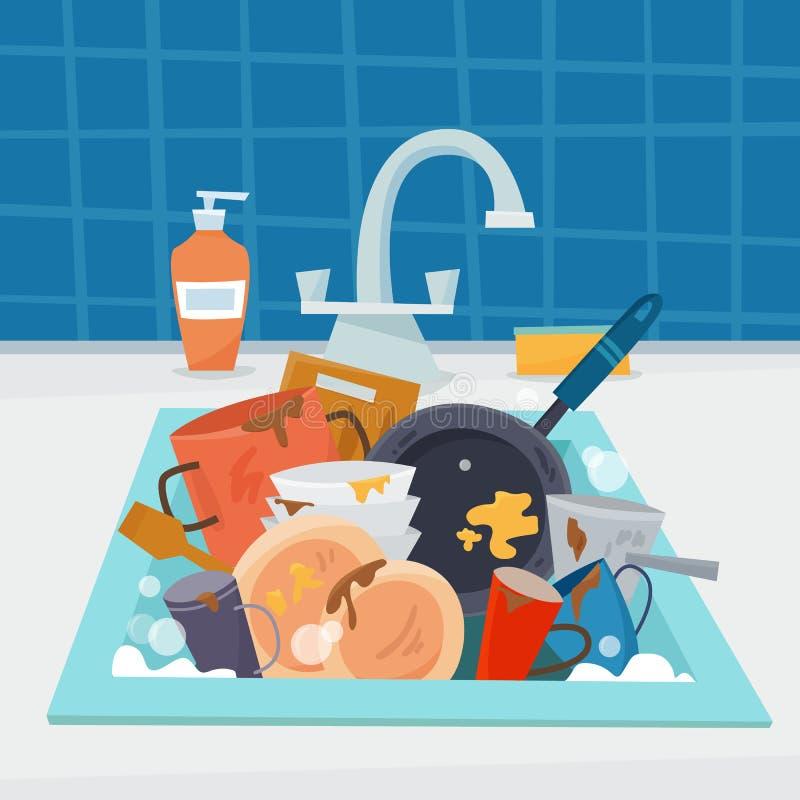 Húndase con artículos de cocina y los platos sucios, utencil y esponja ilustración del vector