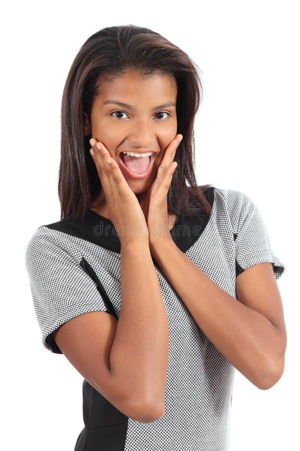 Hübsche Afroamerikanerfrau überrascht lizenzfreies stockfoto