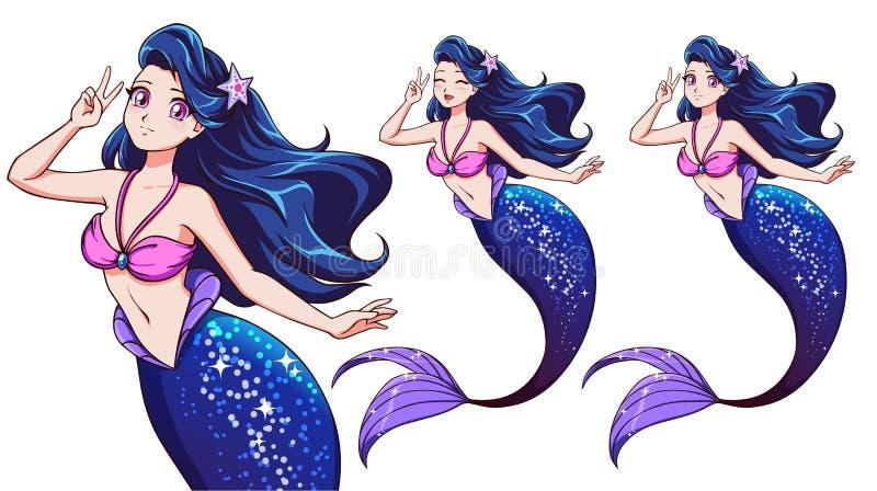 Hübsche Animemeerjungfrau unter Verwendung eines v-Zeichens Blaues Haar und glänzendes blaues Fischendstück stockfoto