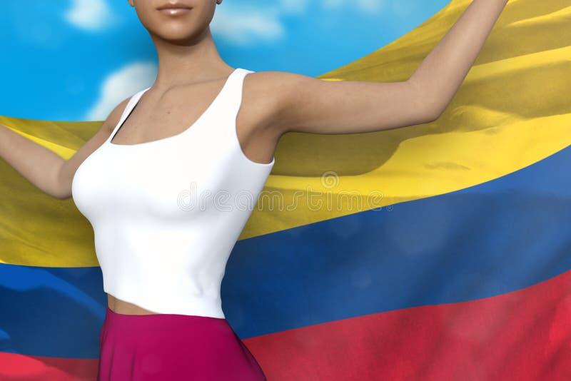 Hübsche Dame im hellen Rock hält Kolumbien-Flagge in den Händen hinter ihrer Rückseite auf dem Hintergrund des bewölkten Himmels  lizenzfreie abbildung