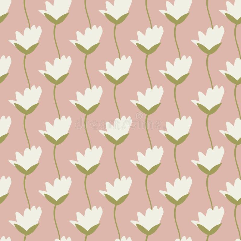 Hübsche Elfenbeintulpen der nahtlosen Vektorwiederholung in Folge mit skizziertem grünem Stammdesign mit einem weichen rosa Hinte stock abbildung