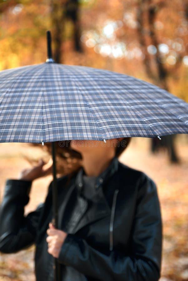 Hübsche Frau, die mit Regenschirm im Herbstpark aufwirft Schöne Landschaft an der Herbstsaison lizenzfreies stockbild