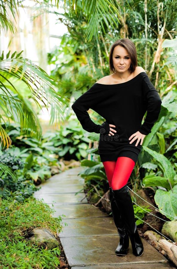 Hübsche Frau, Die Sexy Schwarzes Kleid Und Rote Strümpfe ...