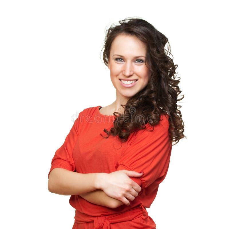 Hübsche Frau im orange T-Shirt lizenzfreies stockbild