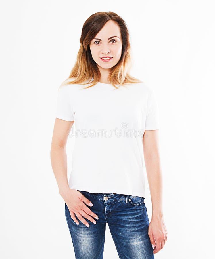 Hübsche Frau im T-Shirt lokalisiert auf weißem Hintergrund Spott oben für Design Kopieren Sie Platz schablone leerzeichen stockfoto