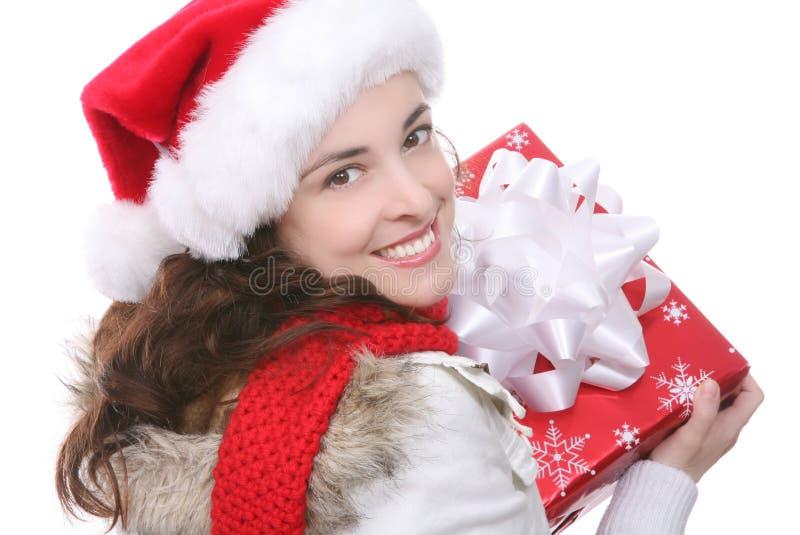 Hübsche Frau am Weihnachten stockbild