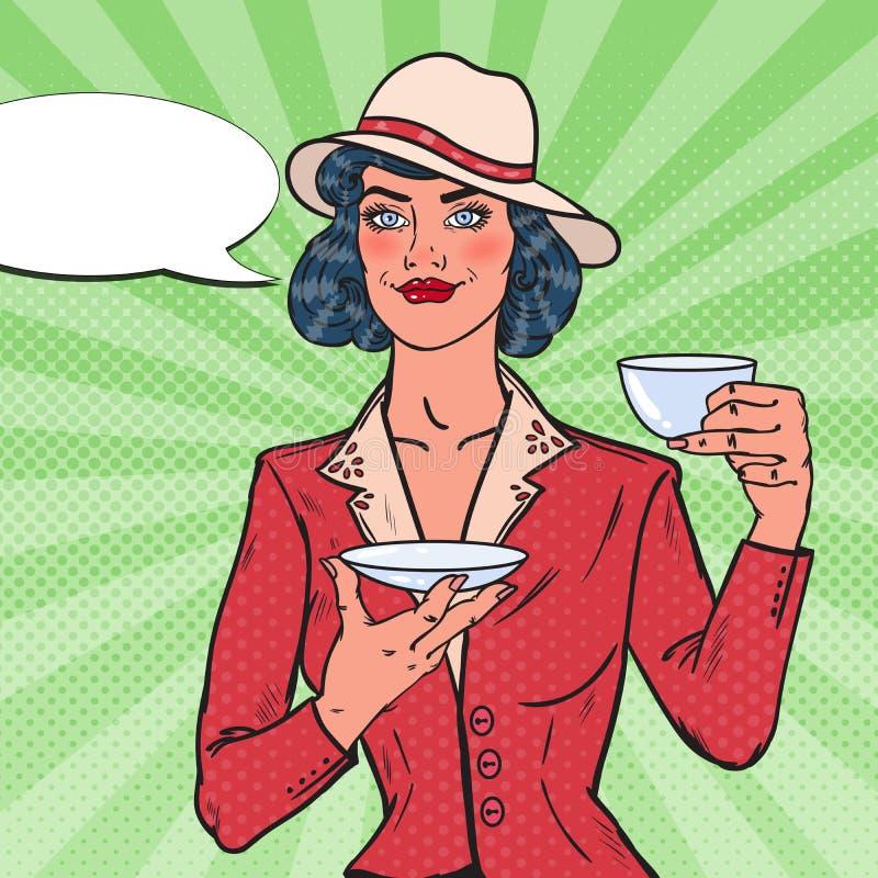 Hübsche Frauen-trinkender Morgen-Tee im Café Süßes Hörnchen und ein Tasse Kaffee im Hintergrund Pop-Arten-Illustration lizenzfreie abbildung
