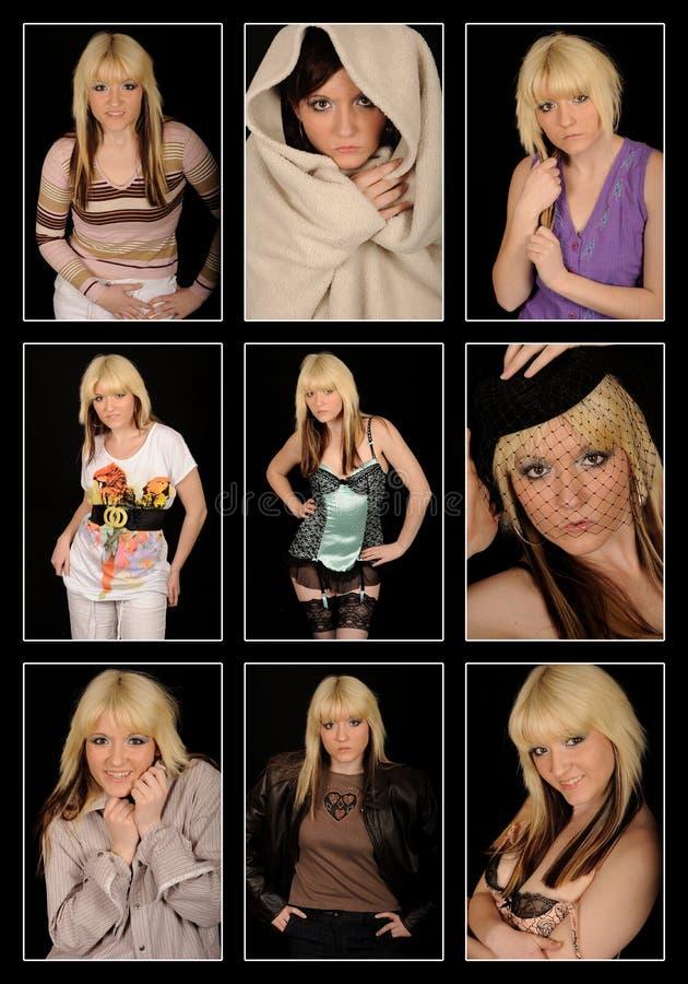 Hübsche Frauencollage stockbilder