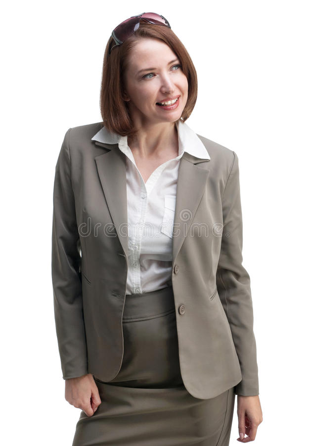 Hübsche Geschäftsfrau in der grauen Klage lokalisiert auf weißem Hintergrund stockbilder