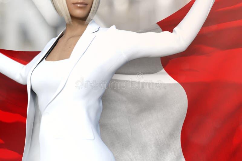 Hübsche Geschäftsfrau hält Peru-Flagge in den Händen hinter ihrer Rückseite auf dem Bürogebäudehintergrund - Illustration des Fla lizenzfreie abbildung