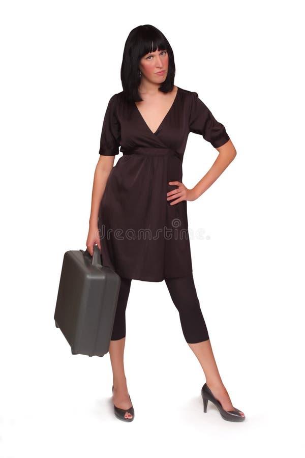 Hübsche Geschäftsfrau mit Fall lizenzfreies stockfoto