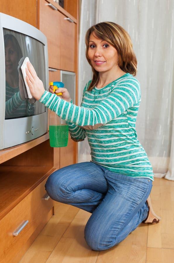 h bsche hausfrau die fernsehen s ubert stockbild bild. Black Bedroom Furniture Sets. Home Design Ideas