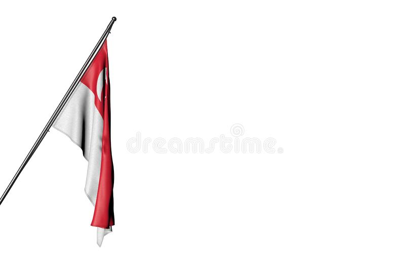 Hübsche Illustration der Nationalfeiertagflagge 3d - Singapur-Flagge, die an einem herein Eckpfosten lokalisiert auf Weiß hängt vektor abbildung