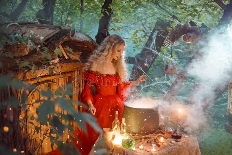 Hübsche junge Dame mit dem blonden gelockten Haar über großem magischem großem Kessel mit Rauche und Flaschen mit Flüssigkeiten,  stockfotografie