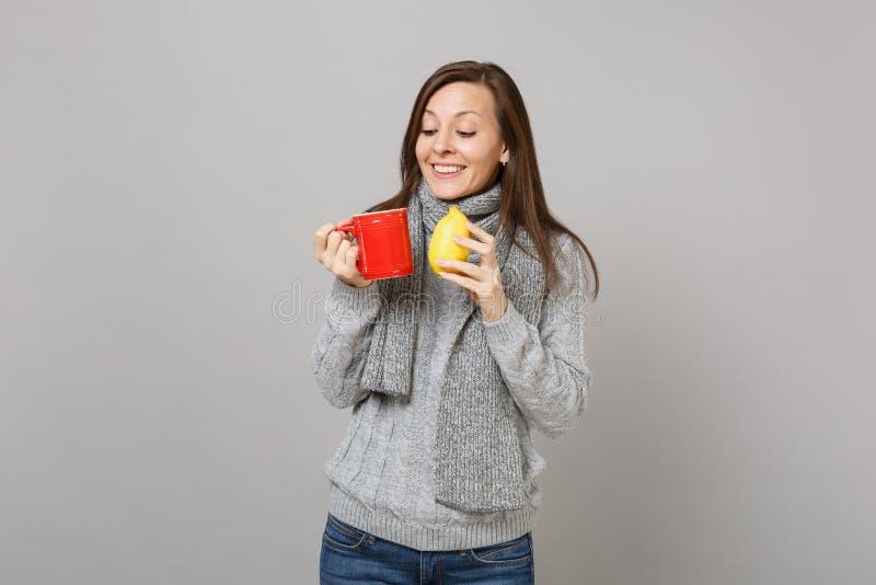 Hübsche junge Frau in der grauen Strickjacke, Schalholdingzitrone, rote Tasse Tee lokalisiert auf grauem Wandhintergrund Gesund lizenzfreies stockbild