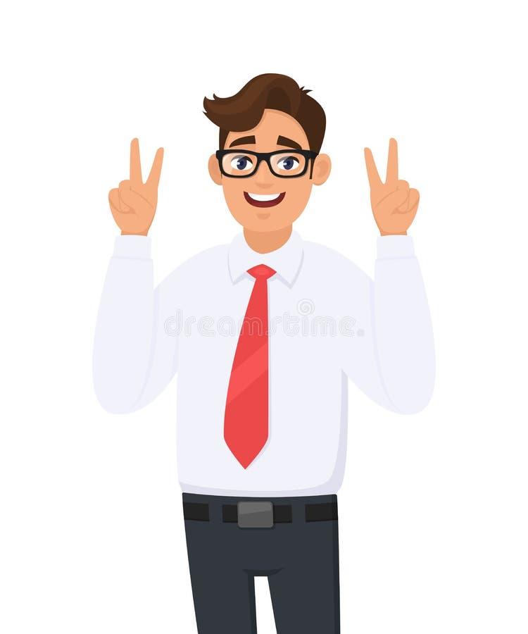 Hübsche junge Geschäftsmannvertretung/Gestikulieren zwei, Sieg oder v-Zeichen mit den Handfingern Lächelnder Mann, der Friedensze lizenzfreie abbildung