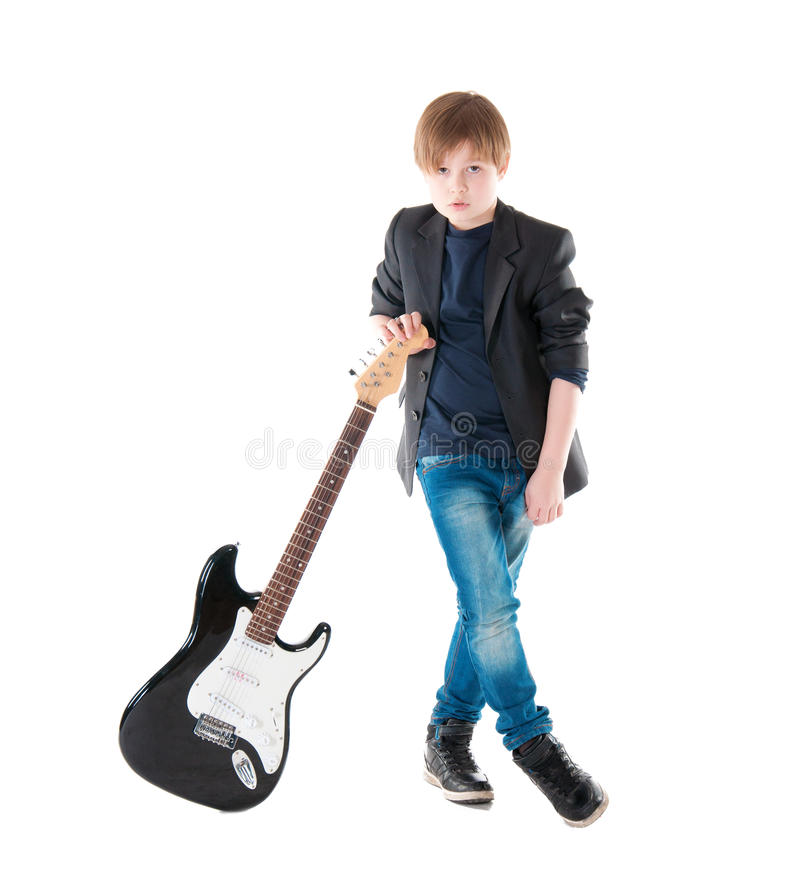 Hübsche Junge White-gitarre lizenzfreie stockfotos